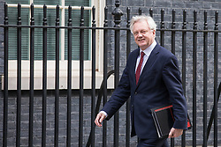 © Licensed to London News Pictures. 07/03/2017. London, UK. Secretary of State for Exiting the European Union David Davis on Downing Street. The government is set to deliver the budget tomorrow, Wednesday 8 March 2017. Photo credit: Rob Pinney/LNP