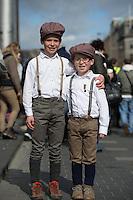 Ciaran (9) and Dara (7) Wheelan from Dublin enjoying the Easter Monday 1916 commemorations in Dublin<br />Pic:Mark Condren<br />28.3.2016