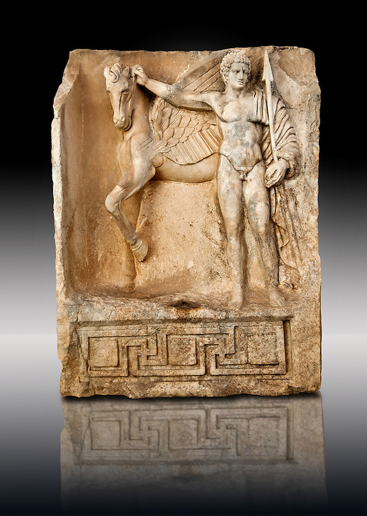 Photo of Roman releif sculpture of Bellerophon, Aphrodisias, Turkey, Images of Roman art bas releifs. Buy as stock or photo art prints. Bellerophon was a Lykian hero who was claimed to be the founder of Aphrodisias. He holds the winged horse Pegasos. The quality of the carving is poor indicating an apprentice piece. .<br /> <br /> If you prefer to buy from our ALAMY STOCK LIBRARY page at https://www.alamy.com/portfolio/paul-williams-funkystock/greco-roman-sculptures.html . Type -    Aphrodisias     - into LOWER SEARCH WITHIN GALLERY box - Refine search by adding a subject, place, background colour, museum etc.<br /> <br /> Visit our ROMAN WORLD PHOTO COLLECTIONS for more photos to download or buy as wall art prints https://funkystock.photoshelter.com/gallery-collection/The-Romans-Art-Artefacts-Antiquities-Historic-Sites-Pictures-Images/C0000r2uLJJo9_s0