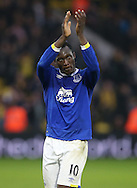 Everton's Romelu Lukaku applauds the fans during the Premier League match at Vicarage Road Stadium, London. Picture date December 10th, 2016 Pic David Klein/Sportimage