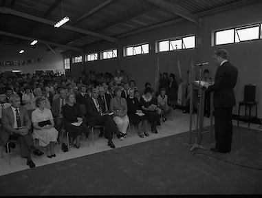 Ballymun Scout Hall.1982.28.07.1982.07.28.1982.28th July 1982.Sean Doherty TD Opens Ballymun Scout Hall ,Albert College Drive, Dublin 9..The minister addresses the assembled audience..