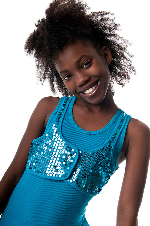African American Girl having fun and laughing very happy.