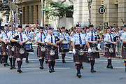 Queensland Police Pipe Band marching in 2014 ANZAC day parade - Brisbane <br />