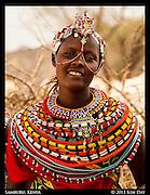 Samburu Girl In Marriage Headress<br /> Samburu Villiage, Kenya<br /> September 2012