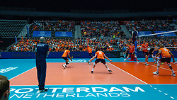 10-08-2019 NED: FIVB Tokyo Volleyball Qualification 2019 / Belgium - Netherlands, Rotterdam<br /> Third match pool B in hall Ahoy between Belgium vs. Netherlands (0-3) for one Olympic ticket / Centercourt Hall view Ahoy, Coach Roberto Piazza of Netherlands, Fabian Plak #8 of Netherlands, Gijs van Solkema #15 of Netherlands