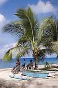 Outrigger canoe, Takapoto, Tuamotu Islands, French Polynesia<br />