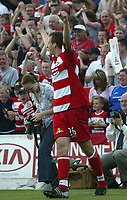 Foto: Digitalsport<br /> NORWAY ONLY<br /> Photo. Andrew Unwin<br /> Doncaster Rovers v York, Nationwide League Division Three, Earth Stadium, Belle Vue, Doncaster 24/04/2004.<br /> Doncaster's Chris Brown celebrates scoring his team's second goal.