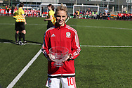 Jessica Fishlock of Wales (c)  as presented with a bowl as she wins her 100th cap and becomes the only Welsh senior international, men or women's to reach the 100th milestone becoming the most capped Welsh international. . Wales women v Northern Ireland women, friendly international football in Ystrad Mynach, near Caerphilly, South Wales on Wednesday 5th April 2017.<br /> pic by Andrew Orchard, Andrew Orchard sports photography.
