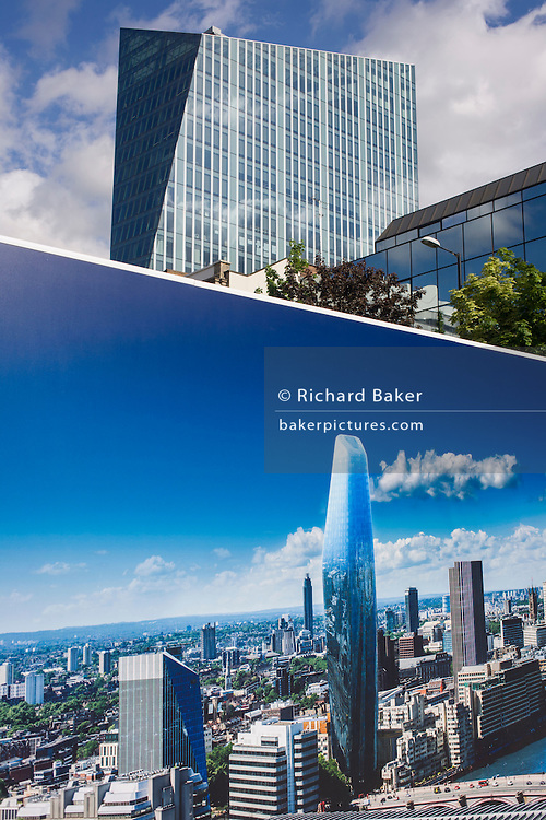Cityscape image on a large construction hoarding that shows 1, Blackfriars, a property development marketing suite hoarding landscape. 1 Blackfriars or One Blackfriars, will be a mixed-use development approved for construction at the junction of Blackfriars Road and Stamford Street at Bankside, London. The development make make up a 52-storey tower of a maximum height of 170m and two smaller buildings of 6 and 4 stories respectively. Uses include residential flats, a hotel and retail. In addition a new public space will be created.