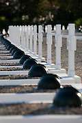 Graves in the military cemetery in Takrouna, near Enfidha, Tunisia