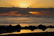 Sunrise over Folly Beach at Morris Island Park near Charleston.