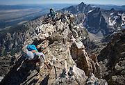 Exum Mountain Guides, Climbing Nez Perce Direct South Ridge, Grand Teton National Park, Wyoming.<br /> Photo by David Stubbs
