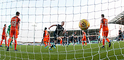 Falkirk's Tommy Robson cele Peter Grant scoring their first goal. Falkirk 6 v 1 Dundee United, Scottish Championship game played 6/1/2018 played at The Falkirk Stadium.