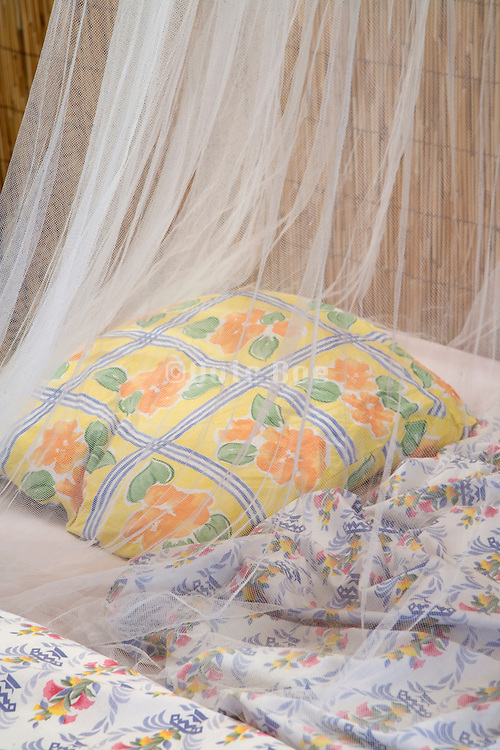 close up of bed with a mosquito cover