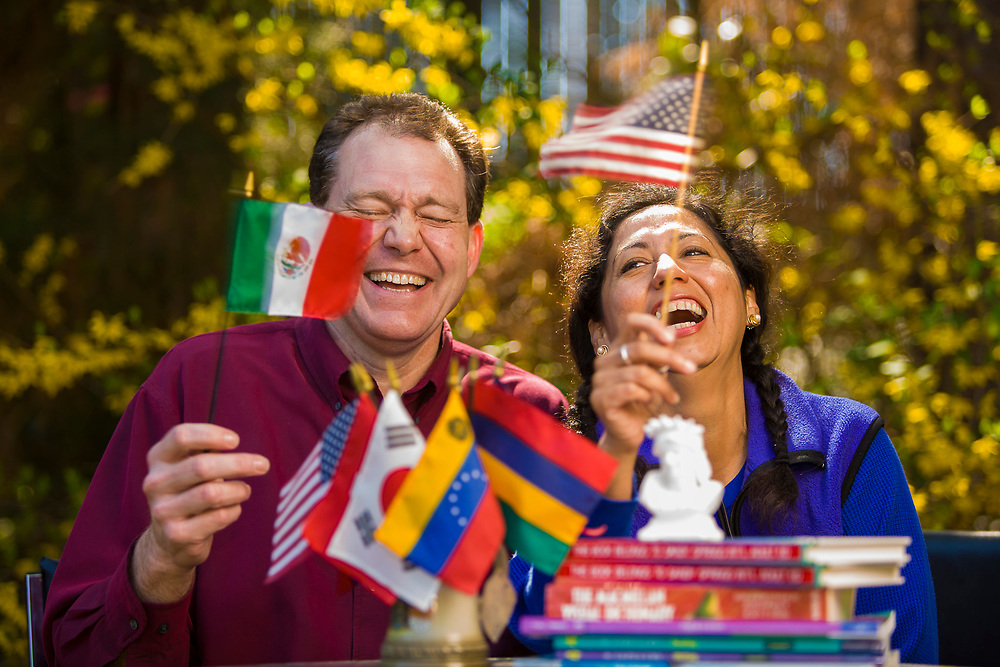 He is a US native, and teaches Spanish.  She is a Mexican native, and teaches English.  It works well for this married couple.  Created for Hands on Atlanta.