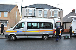 © Licensed to London News Pictures. 06/01/2016<br /> A police search team arriving at the home of former Eastenders actress Sian Blake's home in Erith,Kent where a murder investigation has been launched following the discovery of three bodies. <br /> (Byline:Grant Falvey/LNP)