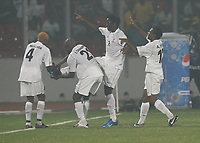 Photo: Steve Bond/Richard Lane Photography.<br />Sudan v Zambia. Africa Cup of Nations. 22/01/2008. Jacob Mulenga (second from (R) celebrates his goal amid the smoke filled atmospher of Kumasi