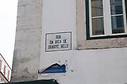 Street sign, Rua da Bica de Duarte Belo, Elevador da Bica, the Bica street funicular lift, Bairro Alto, Lisbon, Portugal