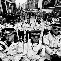The police kept turning up and turning up.  Eventually they formed a box around the protestors and moved them back up to Bold Street.  Very impressive job.