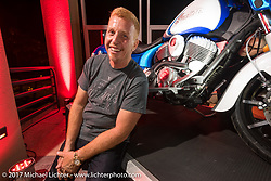 Custom bike builder Paul Yaffe with his just revealed Indian Chieftain at an Indian party at the Hilton Hotel during Daytona Bike Week. Daytona Beach, FL, USA. Friday March 10, 2017. Photography ©2017 Michael Lichter.