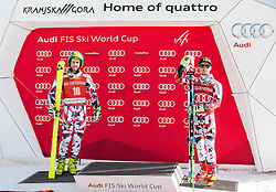 Second placed Philipp Schoerghofer (AUT) and third placed Marcel Hirscher (AUT) celebrate at trophy ceremony after the 9th Men's Giant Slalom race of FIS Alpine Ski World Cup 55th Vitranc Cup 2016, on March 4, 2016 in Kranjska Gora, Slovenia. Photo by Vid Ponikvar / Sportida