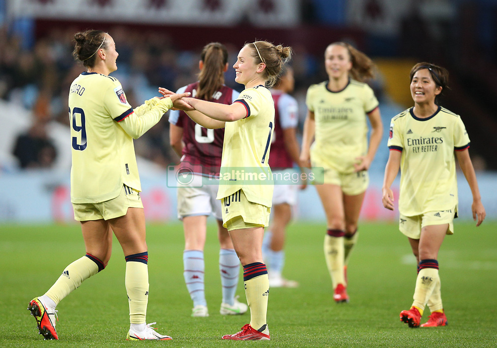 Arsenal's Kim Little (centre) celebrates scoring her sides fourth goal of the game during the FA Women's Super League match at Villa Park, Birmingham. Picture date: Saturday October 2, 2021.