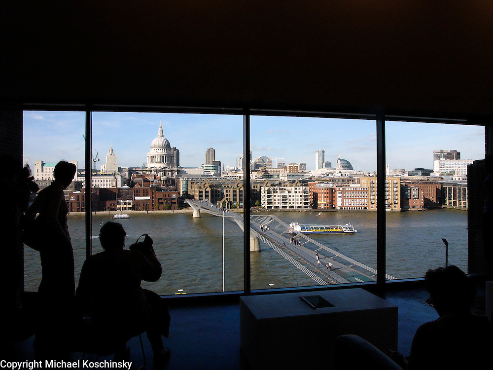 View from the cafeteria of the New Tate Gallery, London, UK
