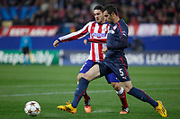 Atletico de Madrid´s Koke (L) and Olympiacos´s Milivojevic during Champions League soccer match between Atletico de Madrid and Olympiacos at Vicente Calderon stadium in Madrid, Spain. November 26, 2014. (ALTERPHOTOS/Victor Blanco)