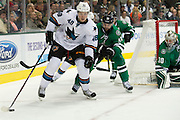 DALLAS, TX - OCTOBER 17:  Tomas Hertl #48 of the San Jose Sharks controls the puck against the Dallas Stars on October 17, 2013 at the American Airlines Center in Dallas, Texas.  (Photo by Cooper Neill/Getty Images) *** Local Caption *** Tomas Hertl