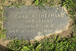 31 August 2017:   Veterans graves in Park Hill Cemetery in eastern McLean County.<br /> <br /> Carl A Shephard  Private US Army  World War II  Oct 12 1925  Mar 14 1983