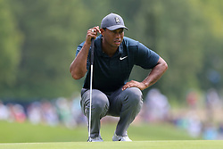 August 9, 2018 - St. Louis, Missouri, United States - Tiger Woods lines up a putt during the first round of the 100th PGA Championship at Bellerive Country Club. (Credit Image: © Debby Wong via ZUMA Wire)