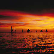 Asian tourists enjoy boat rides during an amazing sunset at White Beach,  Boracay Island, the Philippines on October 7, 2008, Photo Tim Clayton.....Asian tourists at White Beach, Boracay Island, the Philippines...The 4 km stretch of White beach on Boracay Island, the Philippines has been honoured as the best leisure destination in Asia beating popular destinations such as Bali in Indonesia and Sanya in China in a recent survey conducted by an International Travel Magazine with 2.2 million viewers taking part in the online poll...Last year, close to 600,000 visitors visited Boracay with South Korea providing 128,909 visitors followed by Japan, 35,294, USA, 13,362 and China 12,720...A popular destination for South Korean divers and honeymooners, Boracay is now attracting crowds of tourists from mainland China who are arriving in ever increasing numbers. In Asia, China has already overtaken Japan to become the largest source of outland travelers...Boracay's main attraction is 4 km of pristine powder fine white sand and the crystal clear azure water making it a popular destination for Scuba diving with nearly 20 dive centers along White beach. The stretch of shady palm trees separate the beach from the line of hotels, restaurants, bars and cafes. It's pulsating nightlife with the friendly locals make it increasingly popular with the asian tourists...The Boracay sailing boats provide endless tourist entertainment, particularly during the amazing sunsets when the silhouetted sails provide picture postcard scenes along the shoreline...Boracay Island is situated an hours flight from Manila and it's close proximity to South Korea, China, Taiwan and Japan means it is a growing destination for Asian tourists... By 2010, the island of Boracay expects to have 1,000,000 visitors.