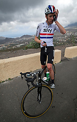 F.A.O Lisa McCLean Daily Telegraph picture desk. ©Ben Cawthra. 19/05/2012. Tenerife, Spain. Three time Olympic gold medalist, cyclist Bradley Wiggins wiping sweat from his forehead during training on the roads surrounding the volcanic island of Tenerife in Spain. Photo credit: Ben Cawthra