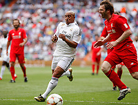 Real Madrid´s Roberto Carlos and Liverpool´s Owen during 2015 Corazon Classic Match between Real Madrid Leyendas and Liverpool Legends at Santiago Bernabeu stadium in Madrid, Spain. June 14, 2015. (ALTERPHOTOS/Victor Blanco)