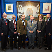 """02.11.2016                  <br /> """"Freeman's Choice"""" an exhibition by renowned artist and Freeman of Limerick, Dr. Thomas Ryan, R.H.A., was officially opened by Mayor Kieran O'Hanlon in Dooradoyle Library. Pictured at the launch were, Senator Patrick Kennedy, Cllr. Malachy McCreesh, Dr. Thomas Ryan, R.H.A., Mayor of Limerick City and County Cllr. Kieran O'Hanlon, Senator Maria Byrne and Damien Brady, Limerick City and County Librarian. Picture: Alan Place"""