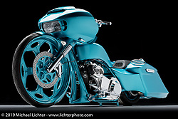 A blue Road Glide bagger built by All N' All Custom Baggers in Columbus, OH. Photographed by Michael Lichter during the Easyriders Bike Show in Columbus, OH on February 12, 2017. ©2017 Michael Lichter.