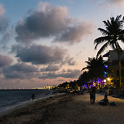 Sunset over Playa del Carmen beach