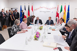 From left to right, Theresa May, Angela Merkel, Jean-Claude Juncker, Donald Tusk, Emmanuel Macron and Giuseppe Conte.<br /> EU meeting with French President Emmanuel Macron, Prime Minister of United Kingdom Theresa May, German Chancellor Angela Merkel, President of European Commission Jean-Claude Juncker, Prime Minister of Netherland Mark Rutte, President of European Council Donald Tusk, Prime Minister of Spain Pedro Sanchez and Prime Minister of Italy Giuseppe Conte during G20. Osaka, Japan, on June 29, 2019. Photo by Jacques Witt/Pool/ABACAPRESS.COM