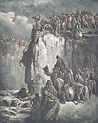 Machine Colourized (AI) Slaughter of the Prophets of Baal [at The Kishon River] 1 Kings 18:38-40 From the book 'Bible Gallery' Illustrated by Gustave Dore with Memoir of Dore and Descriptive Letter-press by Talbot W. Chambers D.D. Published by Cassell & Company Limited in London and simultaneously by Mame in Tours, France in 1866