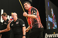 Mensur Suljovic hits a double during the 2018 Grand Slam of Darts at Aldersley Leisure Village, Wolverhampton, United Kingdom on 16 November 2018. Picture by Shane Healey.