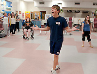 "The ""Captain"" John Findlay practices a solo for ""Anything Goes"" opening this weekend at the Inter Lakes High School auditorium.  (Karen Bobotas/for the Laconia Daily Sun)"
