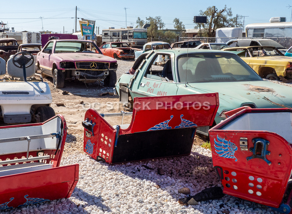 Old Cars Parked at Bombay Beach Drive In