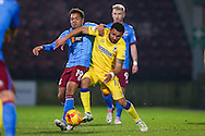AFC Wimbledon forward Andy Barcham (17) battles for the ball during the EFL Sky Bet League 1 match between Scunthorpe United and AFC Wimbledon at Glanford Park, Scunthorpe, England on 28 February 2017. Photo by Simon Davies.