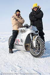"Russian rapper Levan formally known as ""L1"" (with 2-million Instagram followers) on Yaroslav Tatarinov's custom Kawasaki 1350 GTR beside the famous Russian movie actor Vladimer Yaglych at the Baikal Mile Ice Speed Festival. Maksimiha, Siberia, Russia. Saturday, February 29, 2020. Photography ©2020 Michael Lichter."