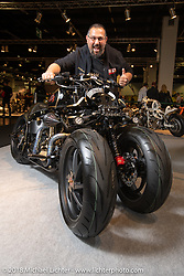 Emiliano D'Alessandro of Giussano, Italy with his unique leaning 3-Wheeler Harley-Davidson Fat Boy in the Modified Harley-Davidson class of the AMD World Championship of Custom Bike Building in the Intermot Customized hall during the Intermot International Motorcycle Fair. Cologne, Germany. Sunday October 7, 2018. Photography ©2018 Michael Lichter.