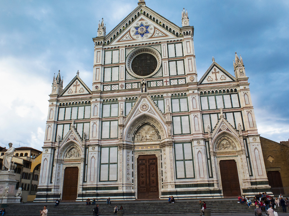 Basilica of Santa Croce, Florence, Italy, burial place of famous Italians such as Michelangelo, Galileo and Machiavelli