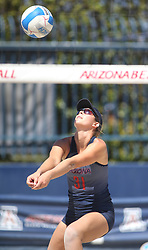 April 7, 2018 - Tucson, AZ, U.S. - TUCSON, AZ - APRIL 07: Arizona Wildcats defender Brooke Burling (31) hits the ball during a college beach volleyball match between the California Golden Bears and the Arizona Wildcats on April 07, 2018, at Bear Down Beach in Tucson, AZ. Arizona defeated California 3-2. (Photo by Jacob Snow/Icon Sportswire (Credit Image: © Jacob Snow/Icon SMI via ZUMA Press)