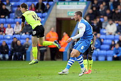 Peterborough United's Michael Bostwick scores to make it 1-1 - Photo mandatory by-line: Joe Dent/JMP - Mobile: 07966 386802 - 04/10/2014 - SPORT - Football - Peterborough - London Road Stadium - Peterborough United v Oldham Athletic - Sky Bet League One