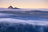Morning clouds hang over evergreen forest below Union Peak, Crater Lake National Park, Oregon