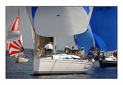 Bell Lawrie Series Tarbert Loch Fyne - Yachting.The third day's inshore races, which transpired to be the last...Bavaria Match 38,  3830C, Salamander XVIII  drifts towards a busy leeward mark.